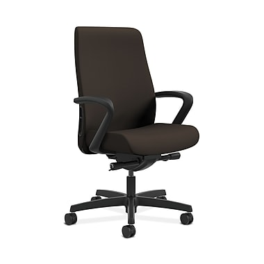 HON® Endorse Mid-Back Task Chairs, Fabric Outer Back, Built-In Lumbar, Synchro-Tilt, Seat Glide, Espresso Fabric