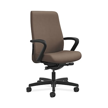 HON® Endorse Mid-Back Task Chairs, Fabric Outer Back, Built-In Lumbar, Synchro-Tilt, Seat Glide, Fixed Arms, Antelope Fabric