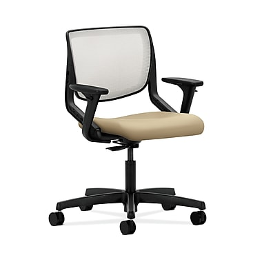 HON® Motivate Task Chairs, Fog ilira®-stretch Back, Adjustable Arms, Buff Fabric