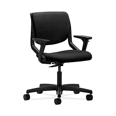 HON® Motivate Task Chairs, Upholstered Back, Adjustable Arms, Onyx Shell, Tectonic Fabric