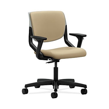 HON® Motivate Task Chairs, Upholstered Back, Adjustable Arms, Platinum Shell, Buff Fabric