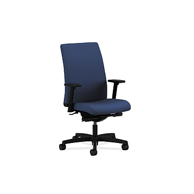 HON Ignition Mid-Back Task Chairs, Upholstered, Synchro-Tilt, Back Angle, Adjustable Arms, Classic Blue Fabric