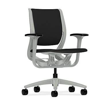 HON Purpose Mid-Back Chairs, YouFit Flex Motion, Adjustable Arms, Platinum Shell, Platinum Base, Fabric