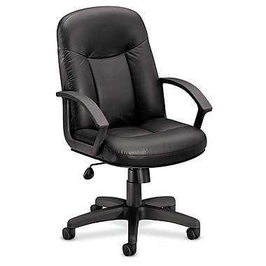 basyx by HON HVL601 Executive High-Back Chair, Center-Tilt, Fixed Arms, Black SofThread Leather