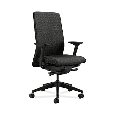 HON® Nucleus Task Chair, Upholstered Back, Synchro-Tilt, Seat Glide, Adjustable Arms, Onyx Fabric