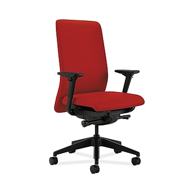 HON® Nucleus Task Chair, Upholstered Back, Synchro-Tilt, Seat Glide, Adjustable Arms, Tomato Fabric