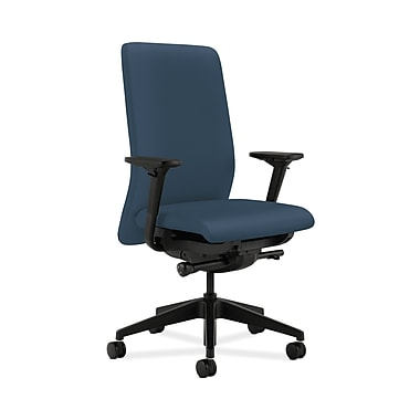 HON® Nucleus Task Chair, Upholstered Back, Synchro-Tilt, Seat Glide, Adjustable Arms, Silvertex Vinyl Jet