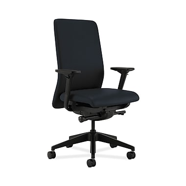 HON® Nucleus Task Chair, Upholstered Back, Synchro-Tilt, Seat Glide, Adjustable Arms, Navy Fabric