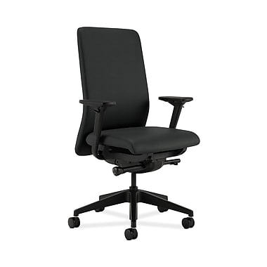 HON® Nucleus Task Chair, Upholstered Back, Synchro-Tilt, Seat Glide, Adjustable Arms, Charcoal Fabric