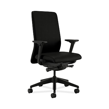HON® Nucleus Task Chair, Upholstered Back, Synchro-Tilt, Seat Glide, Adjustable Arms, Black Fabric