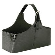 WaldImports Faux Leather Basket; Black