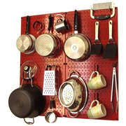 Wall Control Kitchen Organizer Pots & Pans Pegboard Pack; Red / Black