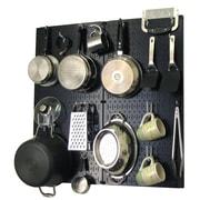 Wall Control Kitchen Organizer Pots & Pans Pegboard Pack; Black  /White