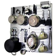 Wall Control Kitchen Organizer Pots & Pans Pegboard Pack; Gray / Black