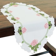 Xia Home Fashions Summer Rose Embroidered Cutwork Mini Table Runner