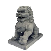 Hi-Line Gift Ltd. Foo Dog Left Paw on Ball Statue; Tan