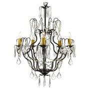 Harrison Lane Versailles 5 Light Crystal Chandelier; Plug-in Kit Included