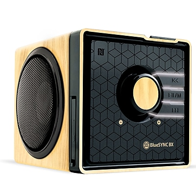 GOgroove Bluetooth GGBSTYM200BDUS Stereo Speaker & Wooden Alarm Clock, Bright LED Display 1609857