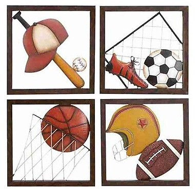 Cole & Grey 4 Piece Loft Aseball D cor Wall Plaque