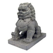 Hi-Line Gift Ltd. Foo Dog Right Paw on Cub Statue; Tan