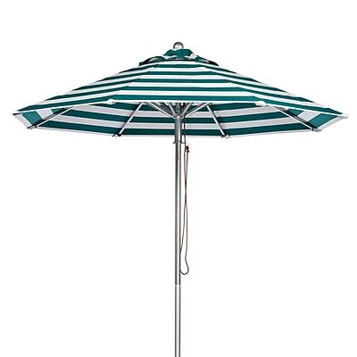 Frankford Umbrellas 9' Market Umbrella; Teal and White Stripe WYF078277684111