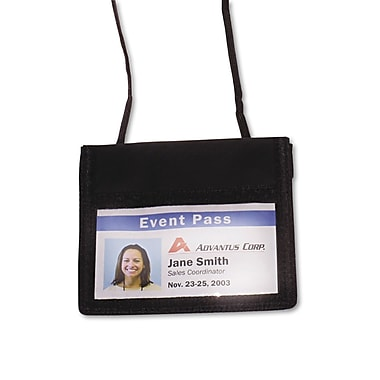 Advantus® ID Badge Holders With Convention Neck Pouch, Black, 4