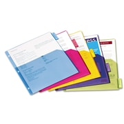 Cardinal® Poly Index Dividers, Poly, Multicolor, 11 x 8 1/2, 5-Tab, 4/Pack (84016)