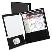 Oxford® Laminated Twin Pocket Folders, Black/Black, 25/Box (51706)