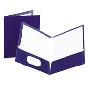 Oxford® Laminated Twin Pocket Folders, Navy/Navy, 25/Box (51743)