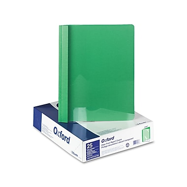 Oxford® Clear Front Standard Grade Report Cover, Clear/Green, 25/Box (55807)