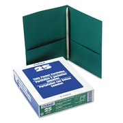 Oxford® Twin-Pocket Folder with Prong Fasteners, Hunter Green/Hunter Green, 25/Box (57756)