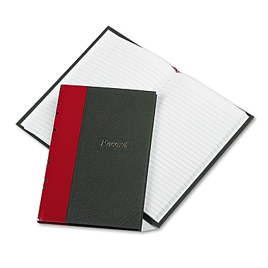 Boorum & Pease® Record and Account Book with Black Cover and Red Spine, Record and Account, 5.3
