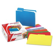 Pendaflex® Double-Ply Reinforced Top Tab Colored File Folders, Letter, Assorted, 100/Box (R15213ASST)