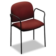 HON® Multipurpose Stacking Arm Chair, Tubular Steel, Office, Burgundy/Black, 2/Carton (4051AB62T)