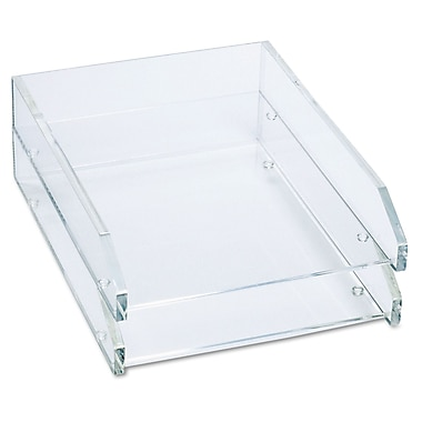 kantek double letter tray two tier acrylic clear each ad