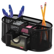 Rolodex™, Mesh Pencil Cup Organizer, Four Compartments, Steel, 9 1/3 x 4 1/2 x 4, Black, Each (1746466)