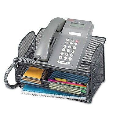 Safco®, Onyx Angled Mesh Steel Telephone Stand, 11 3/4 x 9 1/4 x 7, Black, Each (2160BL)