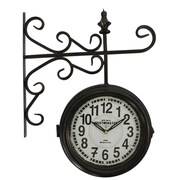 "Yosemite Home Decor 16""H x 20""W x 4""D Black Double Sided Wall Clock"