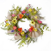 Floral Home Decor Pansy and Daisy Twig Wreath w/ Burlap Ribbon