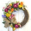 Floral Home Decor Flower Garden Silk Wreath with Tulips and Bird