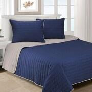 Simple Luxury Brandon 2 Piece Cotton Quilt Set; Navy Blue