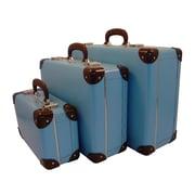 Resource International Vintage Travelers Weekender 3 Piece Suitcase Set; Soft Blue