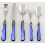 EME Italian Flatware Napoleon 5 Piece Flatware Set; Pearl Blue
