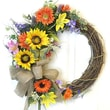 Floral Home Decor Colorful Sunflower Crescent Wreath with Butterflies