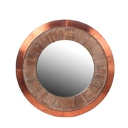 Privilege Wood & Copper Round Wall Mirror