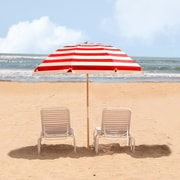 Frankford Umbrellas 7.5' Beach Umbrella; Red / White Stripe