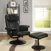 InRoom Designs Relax Arm Chair and Ottoman; Black