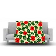 KESS InHouse No More Peonies by Sreetama Ray Fleece Throw Blanket; 90'' H x 90'' W x 1'' D