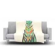 KESS InHouse Tribal Feather by Pom Graphic Design Fleece Throw Blanket; 60'' H x 50'' W x 1'' D