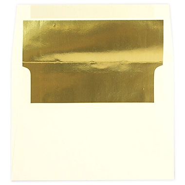 JAM Paper® A7 Foil Lined Envelopes, 5.25 x 7.25, Ecru Ivory with Gold Lining, 250/Pack (2354150H)